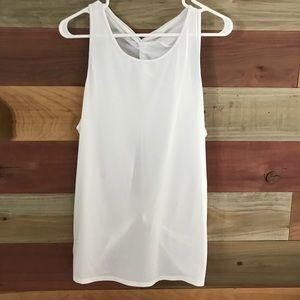 Women's white workout tank top